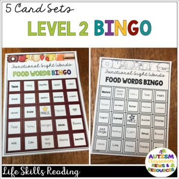 Food Sight Word BINGO for Life Skills Reading Practice in Special Education