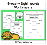 Food Sight Word Worksheets (Words from Edmark Functional Grocery List Set 1)