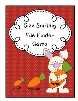 Food Size Sorting File Folder Game