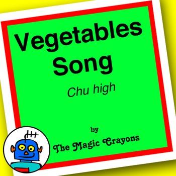English Vegetables Song 1 for ESL, EFL, Kindergarten. Tomatoes, cucumber, corn