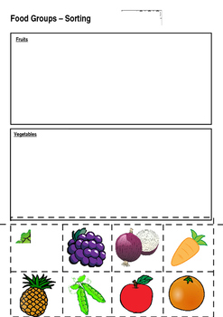 Food Sorting- Fruits and Vegetables