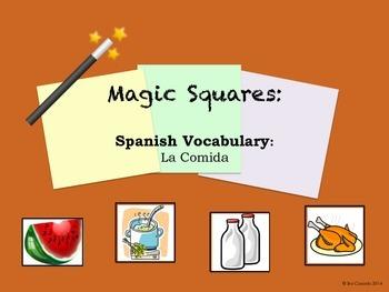 Food Spanish Vocabulary Magic Square Puzzle