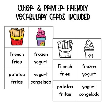 Food Spanish Vocabulary Matching Card Game