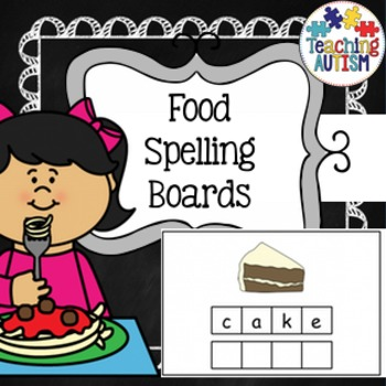 Food Spelling Task Cards Autism