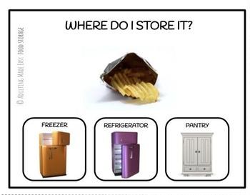 Food Storage Task Clip Cards Freezer Refrigerator or Pantry Life Skills Visuals