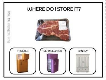 Food Storage Task Cards Where Does It Go? Freezer Refrigerator Pantry