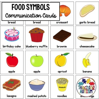 Food Symbol Support Cards - Autism