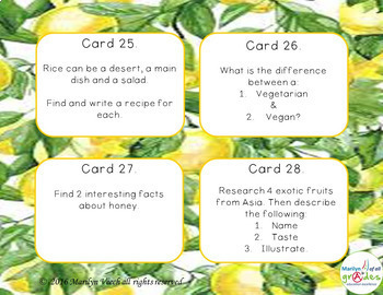 Task Cards about Food X 36 - Group or Individual Activities