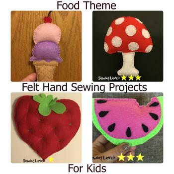4 Food Theme Felt Hand Sewing Patterns Bundle By Debbie Madson Tpt