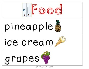 Food Theme Pocket Chart Words