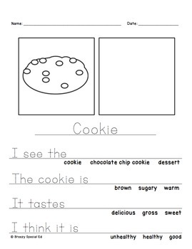 Food Themed Differentiated Journal Writing for Special Education / Autism