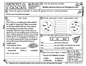 Food Themed ELA and Reading Skills Review Mini-Pack - Morning Work