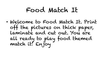Food Themed Match Game