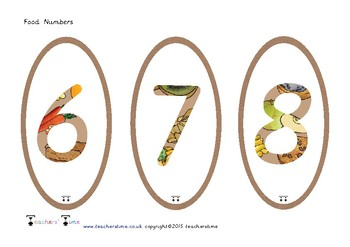 Food Themed Numbers 0-9