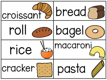 Food Themed Word Wall Vocabulary Cards