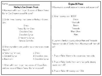 Food Truck Hunt - ELA and Math Task - Reading for Information