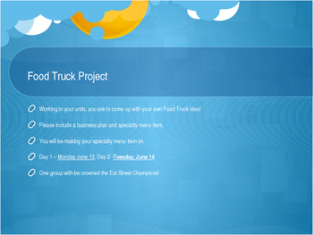 Food Truck Project Instructions PowerPoint