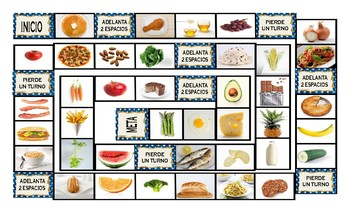 Food Types Spanish Legal Size Photo Board Game