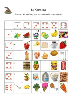 Food Unit Conversational Dice Activity WORLD LANGUAGE