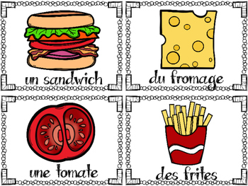 Food Unit- FRENCH Language Activities & Worksheets