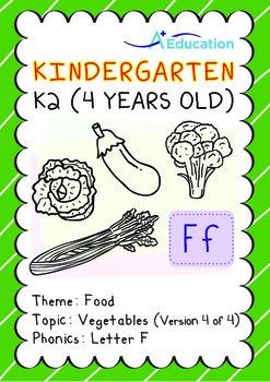 Food - Vegetables (IV): Letter F - Kindergarten, K2 (4 years old)