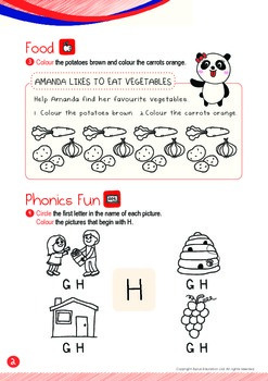 Food - Vegetables (IV): Letter H - Kindergarten, K1 (3 years old)