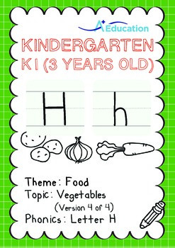 Food - Vegetables (IV): Letter H - Kindergarten, K1 (3 years old)