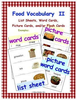 Food Vocabulary II has Word Cards & More; Great for ESOL,