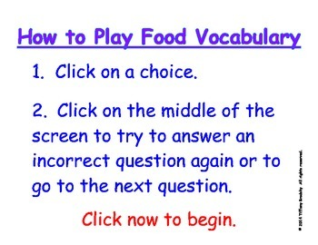 Food Vocabulary II Interactive Game Part One is Superb for ESOL, ESE, & Primary