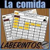 Food Vocabulary Mazes in Spanish