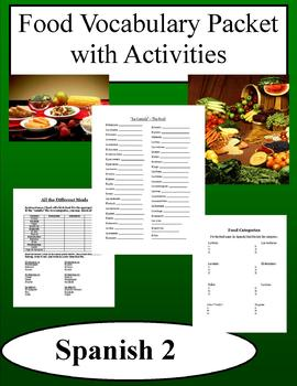 Food Vocabulary Packet w/ Activities - Spanish Class