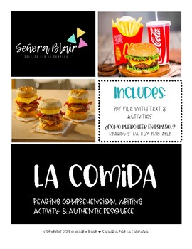Food Vocabulary Reading Comprehension Activity - Authentic