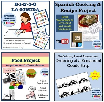 Food Vocabulary Unit for Spanish: Comida Bundle