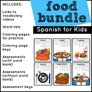 Food Vocabulary in Spanish BUNDLE