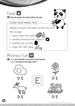Food - Wash Your Hands (II): Letter E - Kindergarten, K1 (3 years old)