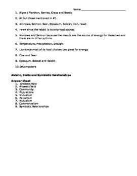 Food Web, Abiotic and biotic factors, symbiotic relationships Worksheet