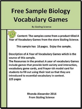 Sample of Biology Vocabulary Games