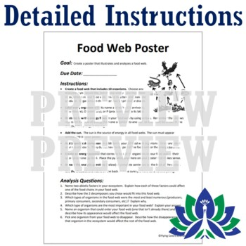 """""""Enhanced"""" Food Web + Energy Pyramid Poster Project  NGSS MS-LS2-3  MS-LS2-4"""