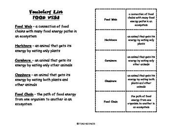 Food Web Vocab Pack