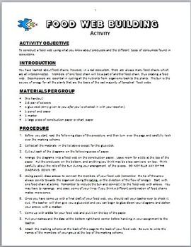 Food Webs Building Activity {Editable}