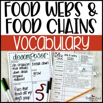 Food Webs & Food Chains Fun Interactive Vocabulary Dice Activity EDITABLE