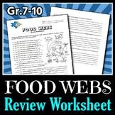 Food Webs - Review Worksheet {Editable}