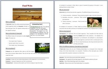 Food Webs - Scientific Reading Comprehension Article – Grades 5-7