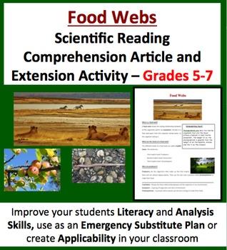 Food Webs - Scientific Reading Comprehension Article – Gr