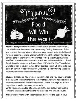 Food Will Win The War Menu Project SS5H2