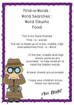 Food Word Search Set