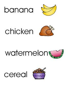 Food Word Wall Cards
