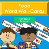Food Word Wall Cards with Realia Pictures
