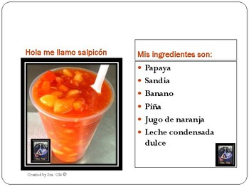 Food activity- match the recipe with the correct ingredients.