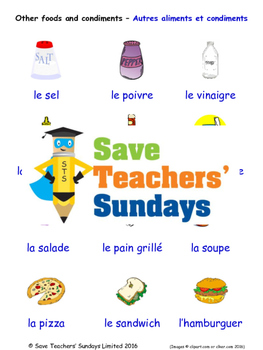 Food and Condiments in French Worksheets, Games, Activities and Flash Cards